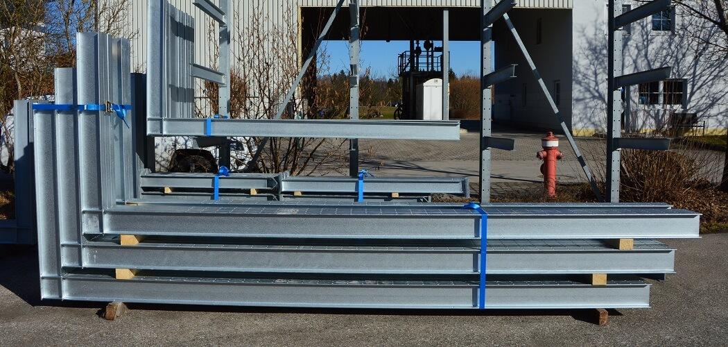 Gebrauchtes Kragarmregal mit Höhe 4.160 mm + Tiefe 1.200 mm