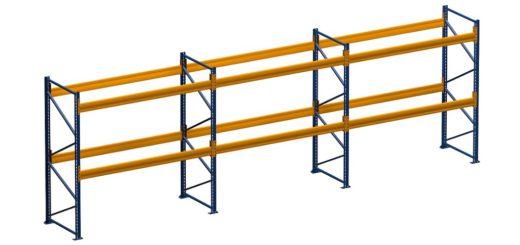 Palettenregal lackiert 3 Felder 2 Ebenen 1050x500 520x245 - Palettenregal lackiert, Höhe 3500 mm, Tiefe 1100 mm