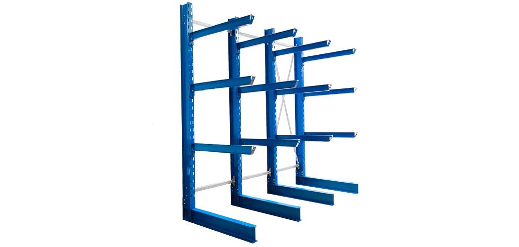 Kragarmregal einseitig lackiert Höhe 4200 mm1050x500 - Kragarmregal einseitig, Höhe 4200 mm, Tiefe 1200 mm, lackiert