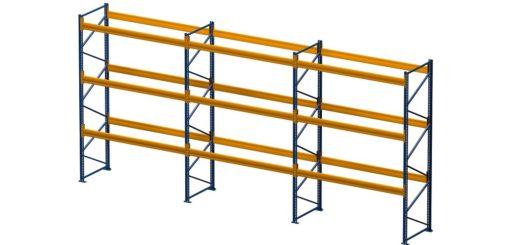 Palettenregal lackiert 3 Felder 3 Ebenen 1050x500 520x245 - Palettenregal, Höhe 4500 mm, Tiefe 1100 mm, lackiert