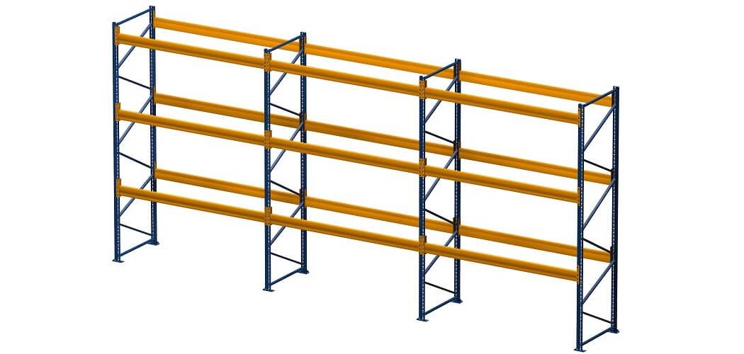 Palettenregal lackiert 3 Felder 3 Ebenen 1050x500 - Palettenregal, Höhe 4500 mm, Tiefe 1100 mm, lackiert