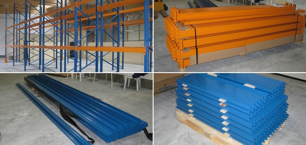 Palettenregal lackiert 5.000 x 1.100 gebraucht 1050x500 - gebrauchte Palettenregale
