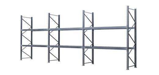 Palettenregal verzinkt 3 Felder 2 Ebenen 1050x500 520x245 - Palettenregal, Höhe 4500 mm, Tiefe 1100 mm, verzinkt