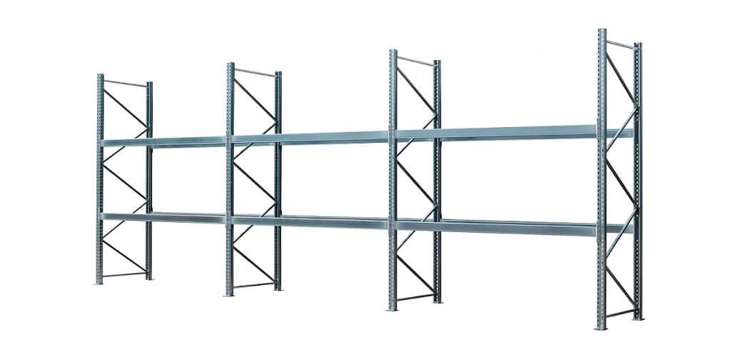 Palettenregal verzinkt 3 Felder 2 Ebenen 1050x500 - Palettenregal, Höhe 3500 mm, Tiefe 1100 mm, verzinkt