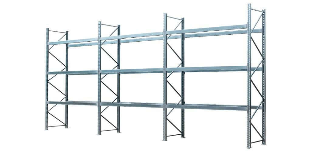 Palettenregal verzinkt 3 Felder 3 Ebenen 1050x500 - Palettenregal, Höhe 4500 mm, Tiefe 1100 mm, verzinkt