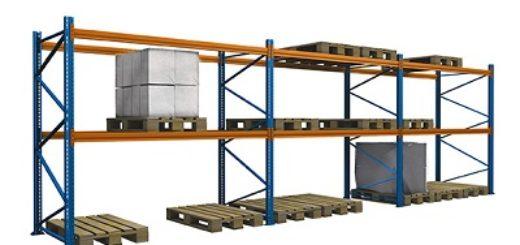Palettenregal lackiert gebraucht 3.500 mm 400x300 520x245 - Palettenregal, gebraucht, lackiert, Höhe 3500 mm, Tiefe 1100 mm