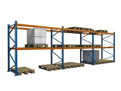 Palettenregal lackiert gebraucht 3.500 mm 400x300 - Palettenregal, gebraucht, lackiert, Höhe 3500 mm, Tiefe 1100 mm