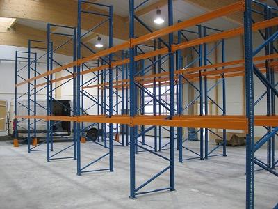 gebrauchte Palettenregale lackiert 5.000 m 400x300 - Palettenregal, gebraucht, lackiert, Höhe 5000 mm, Tiefe 1100 mm