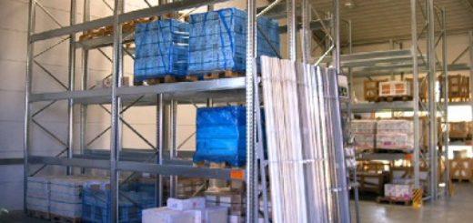 palettenregal gebraucht verzinkt 4.000 mm 400x300 520x245 - Palettenregal, gebraucht, verzinkt, Höhe 4000 mm, Tiefe 1100 mm
