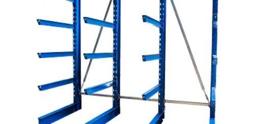 Kragarmregal einseitig lackiert 4 Arme 400x300 520x245 - Kragarmregal, lackiert, gebraucht, Höhe 4000 mm, Tiefe 1200 mm
